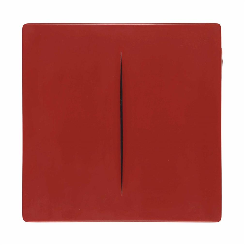 Lucio Fontana-After Lucio Fontana - Concetto Spaziale (Red)-1968