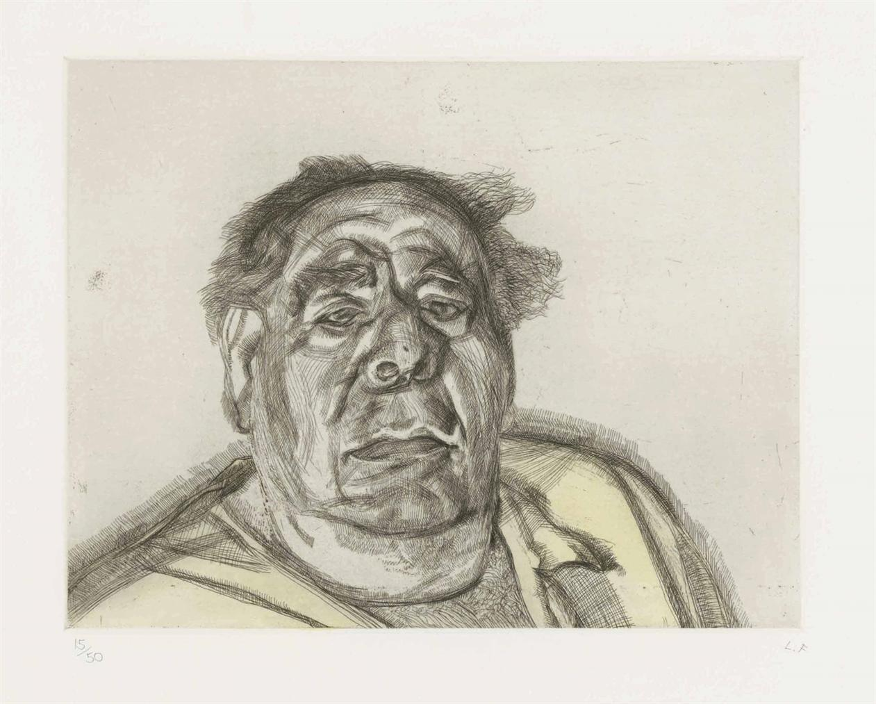 Lucian Freud-Lord Goodman In His Yellow Pyjamas-1987
