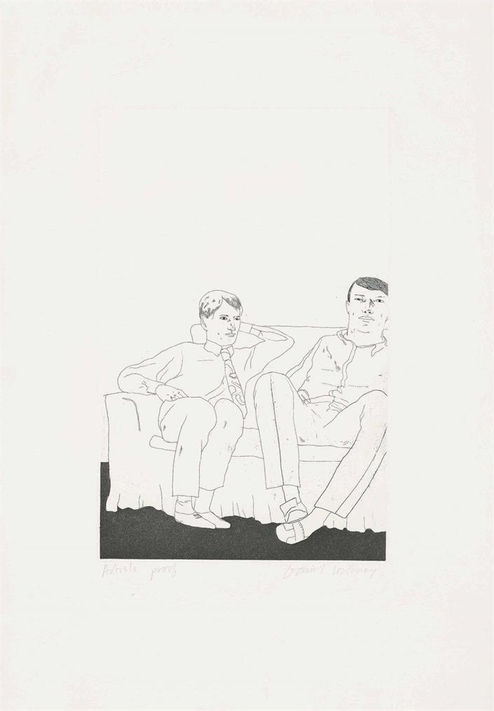 David Hockney-Untitled (Two Young Men On A Sofa)-1966