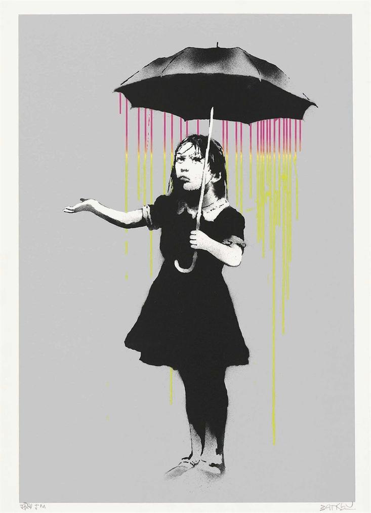 Banksy-Nola (Pink And Yellow Rain)-2008