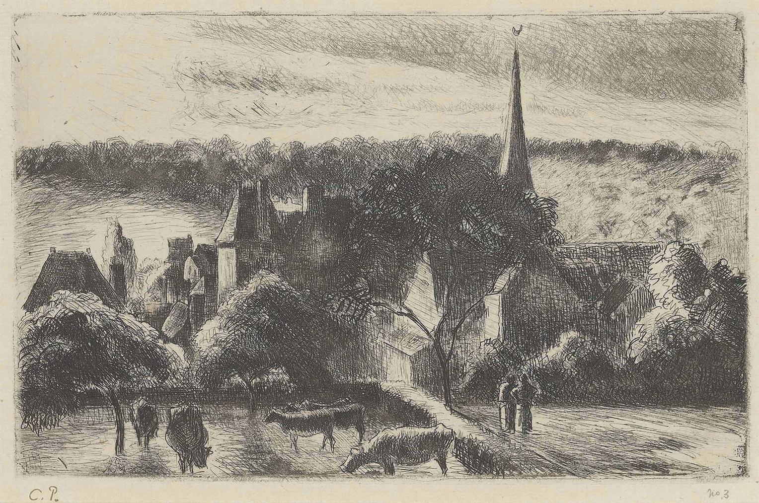 Camille Pissarro-Eglise Et Ferme D'Eragny-1890