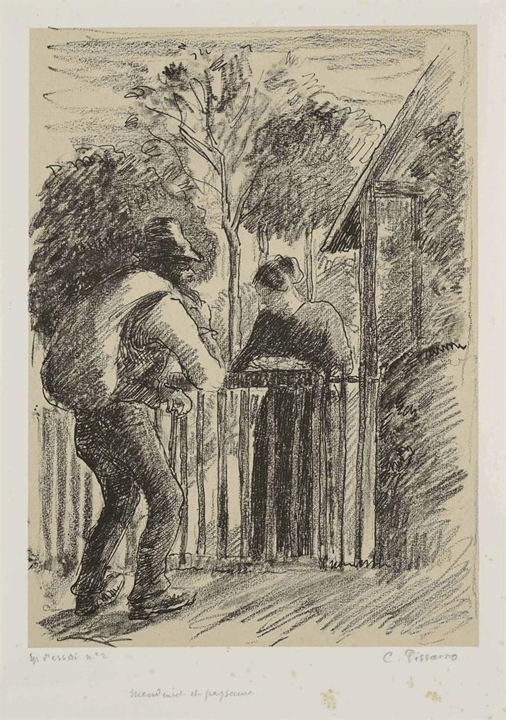 Camille Pissarro-Mendiant Et Paysanne-1897