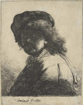 Rembrandt van Rijn-Self-Portrait In A Cap And Scarf With The Face Dark: Bust-1633