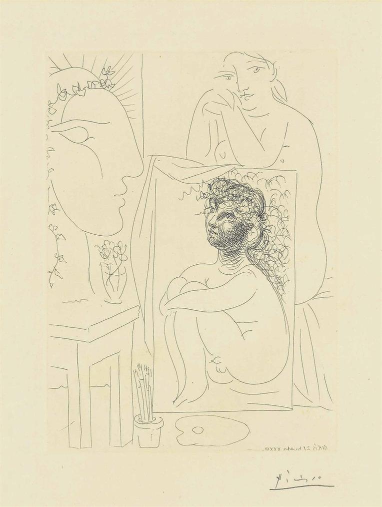 Pablo Picasso-Modele Accoude Sur Un Tableau, From: La Suite Vollard-1933