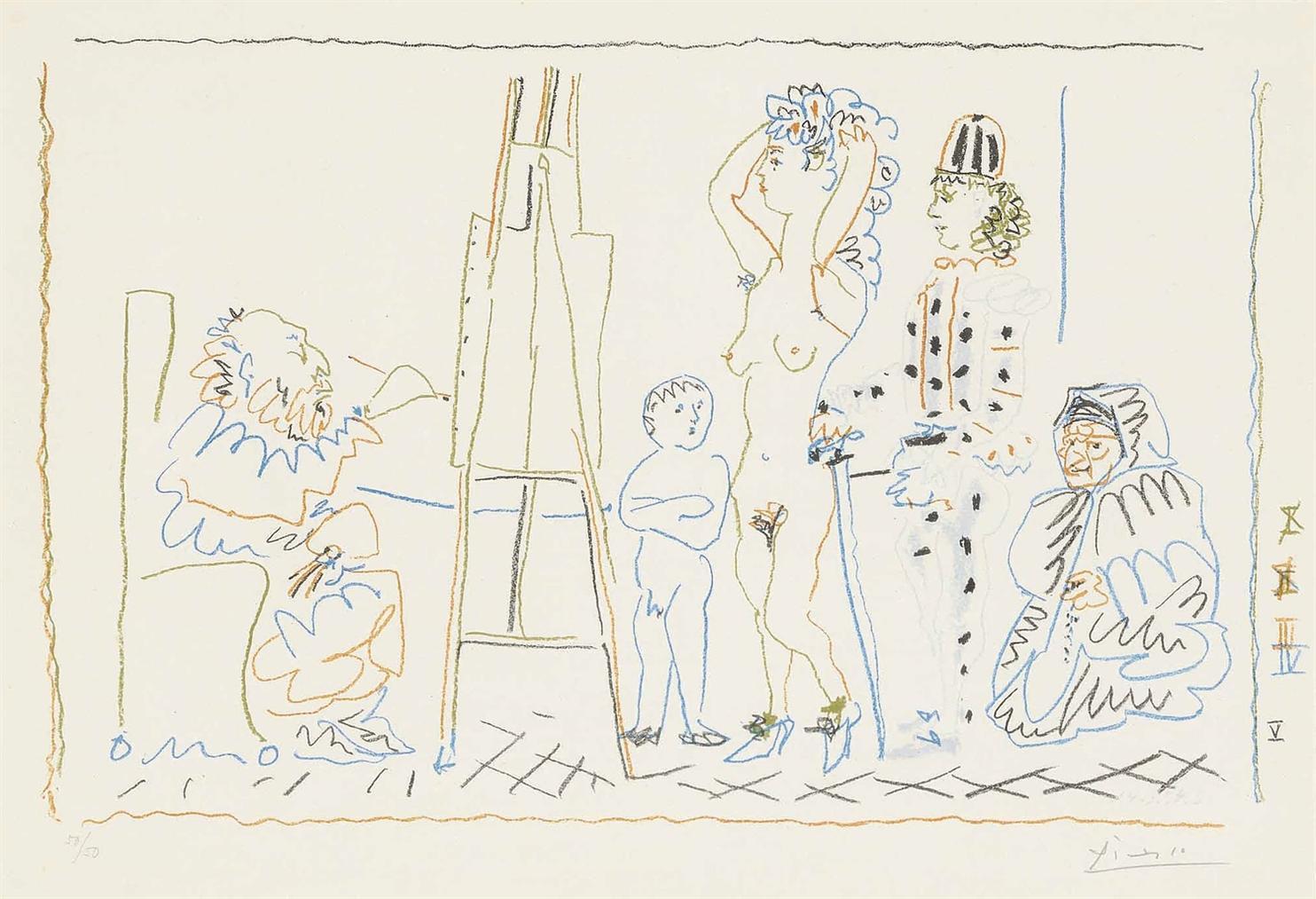 Pablo Picasso-Latelier Du Vieux Peintre-1954