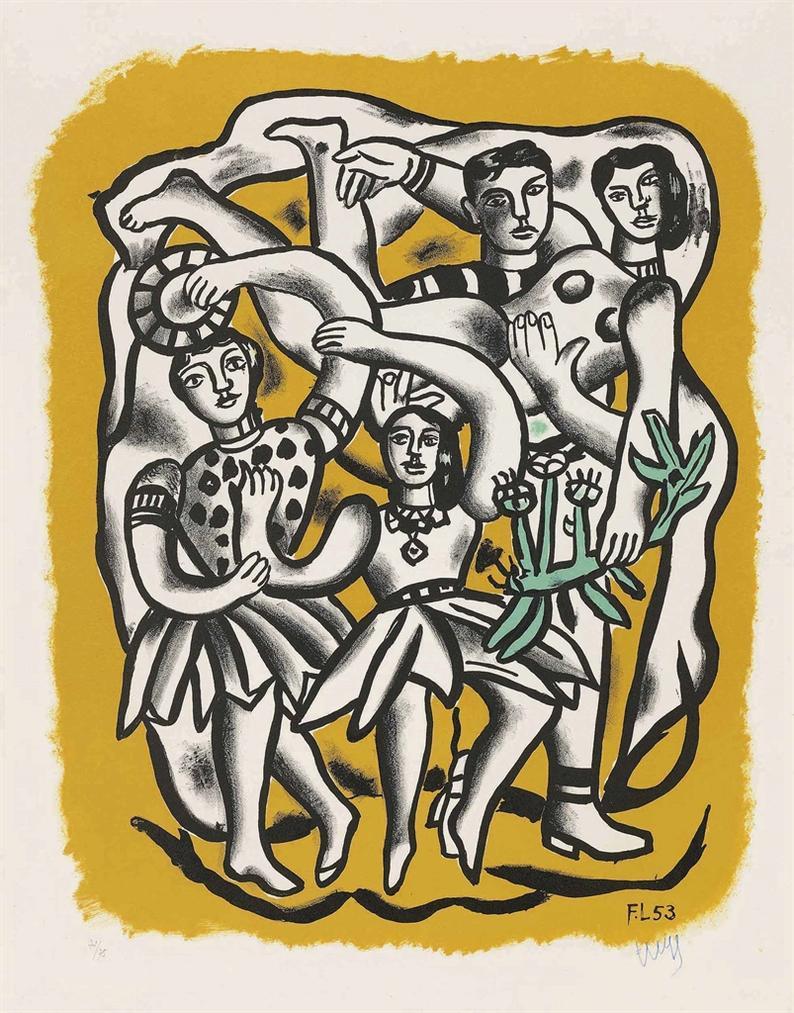 Fernand Leger-Les Danseuses (Fond Jaune)-1954