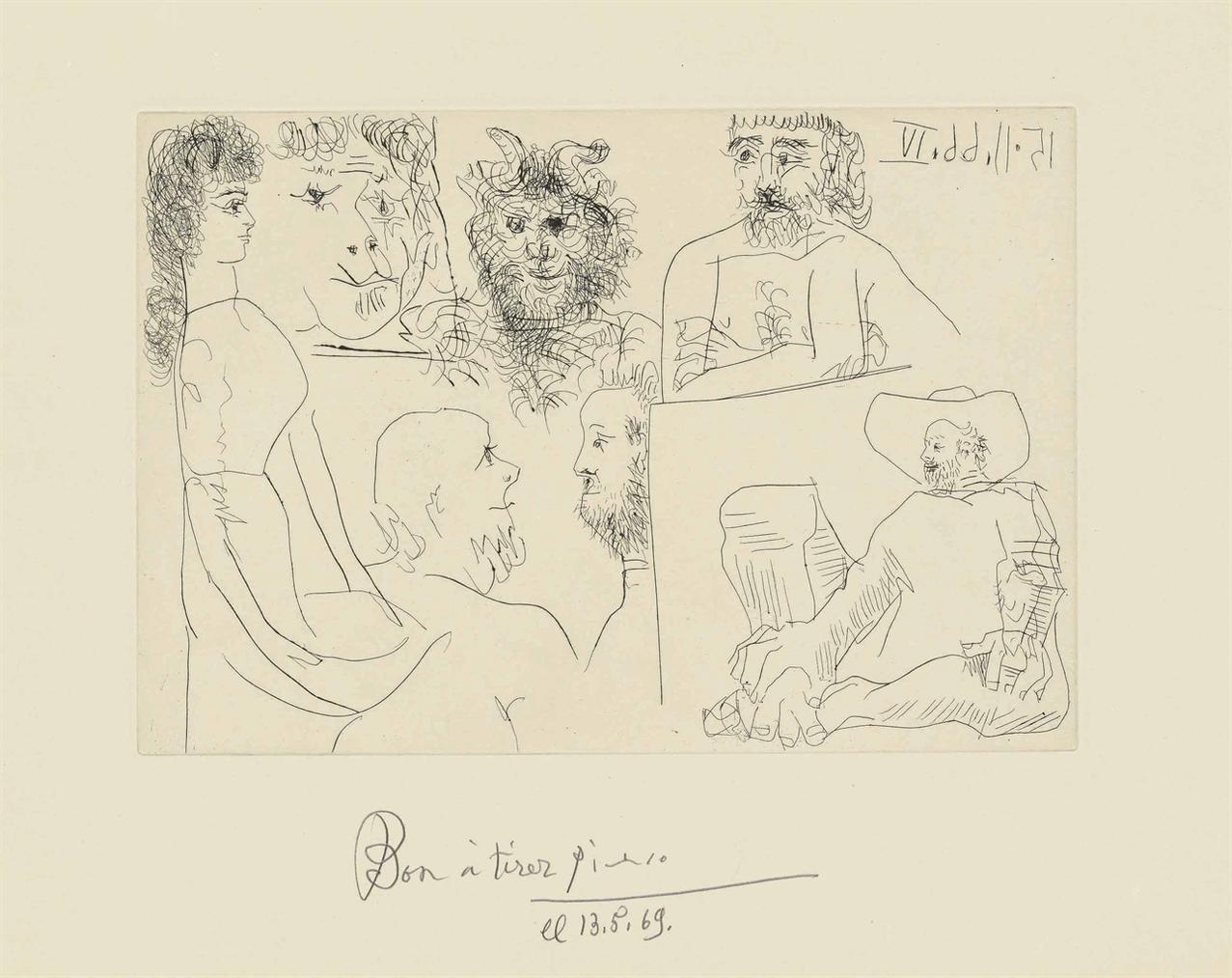 Pablo Picasso-Plate 11, From: El Entierro Del Conde De Orgaz-1966