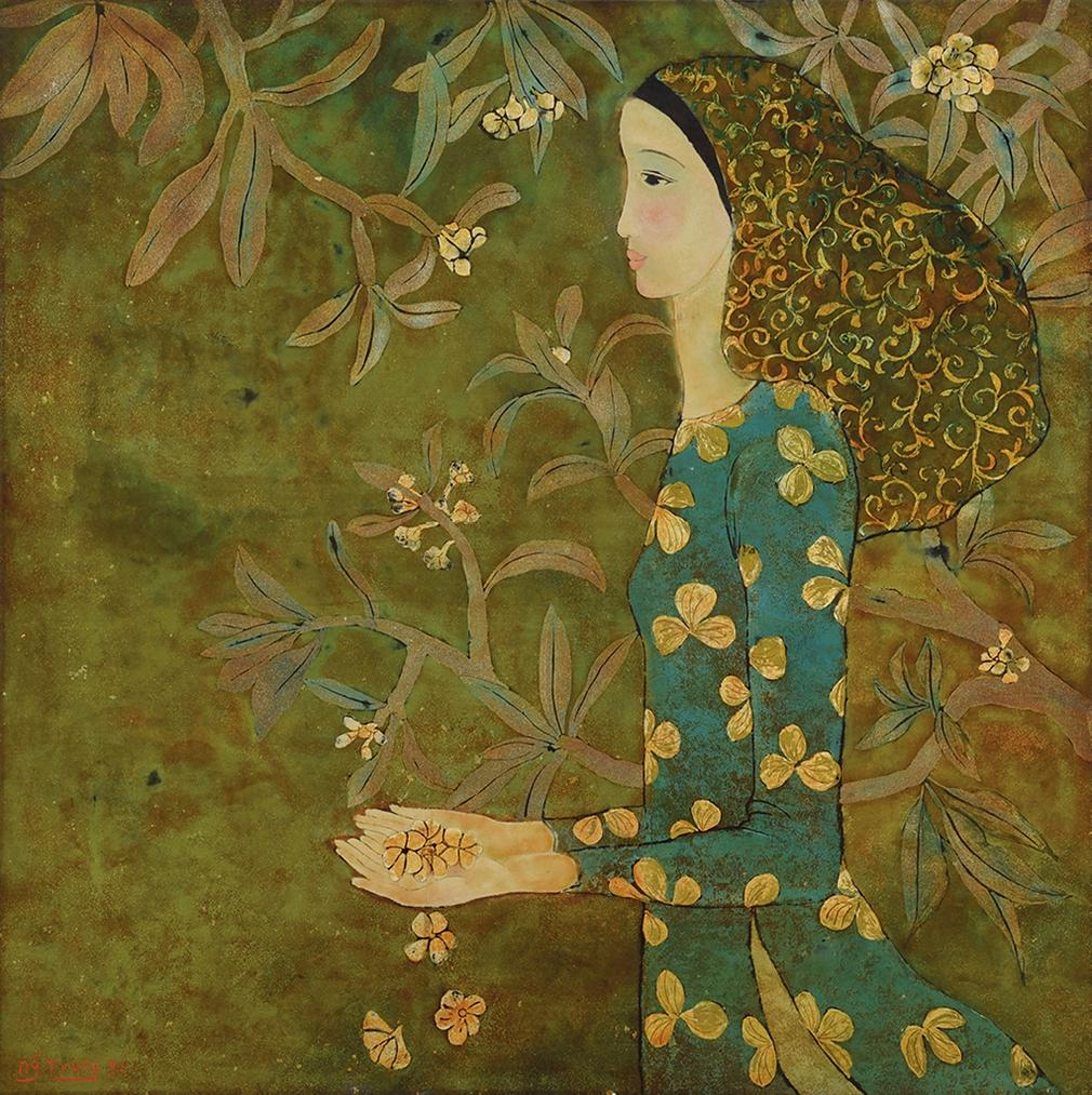 Nguyen Trung-Lady With Champa Flowers-1991