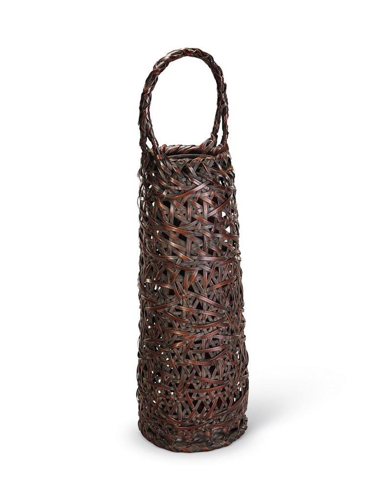 A Japanese Bamboo Handwoven 'Lvyun' Flower Vase-