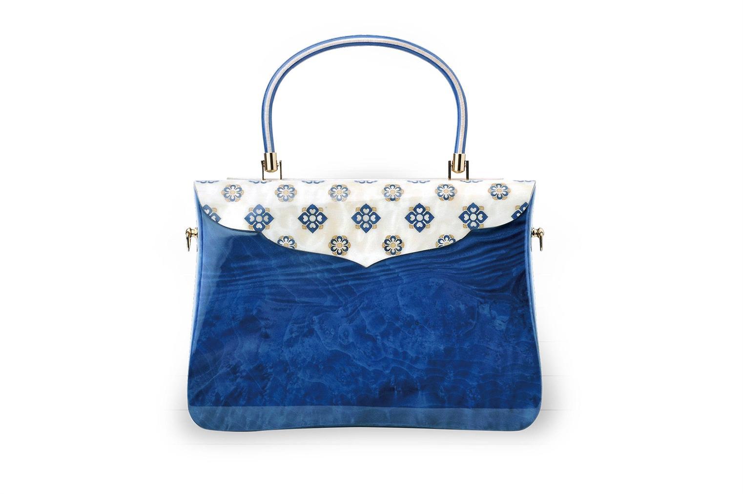 Qi Tian - Inlaid Floral Motif Blue Ash Burr Veneer Handbag-