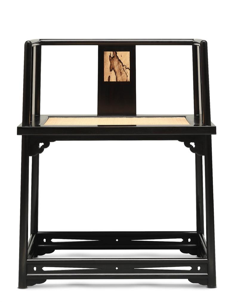 Shen Ping, Zhou Mo - A Black Persimmon-Inset African Blackwood Chair-