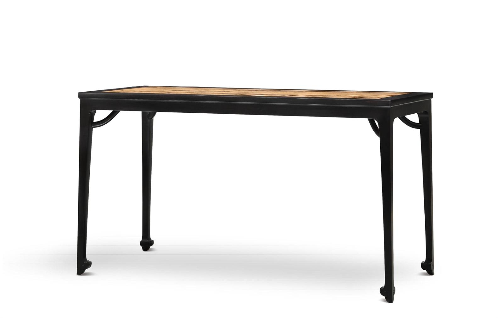 Shen Ping and Zhou Mo - A Black Persimmon-Inset African Blackwood Rectangular Desk-