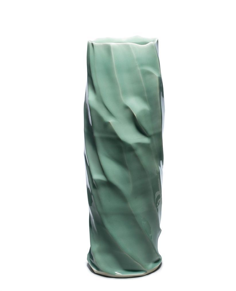 Gao Zhenyu - A Kungang Jade- Inspired Celadon Floral Vase-
