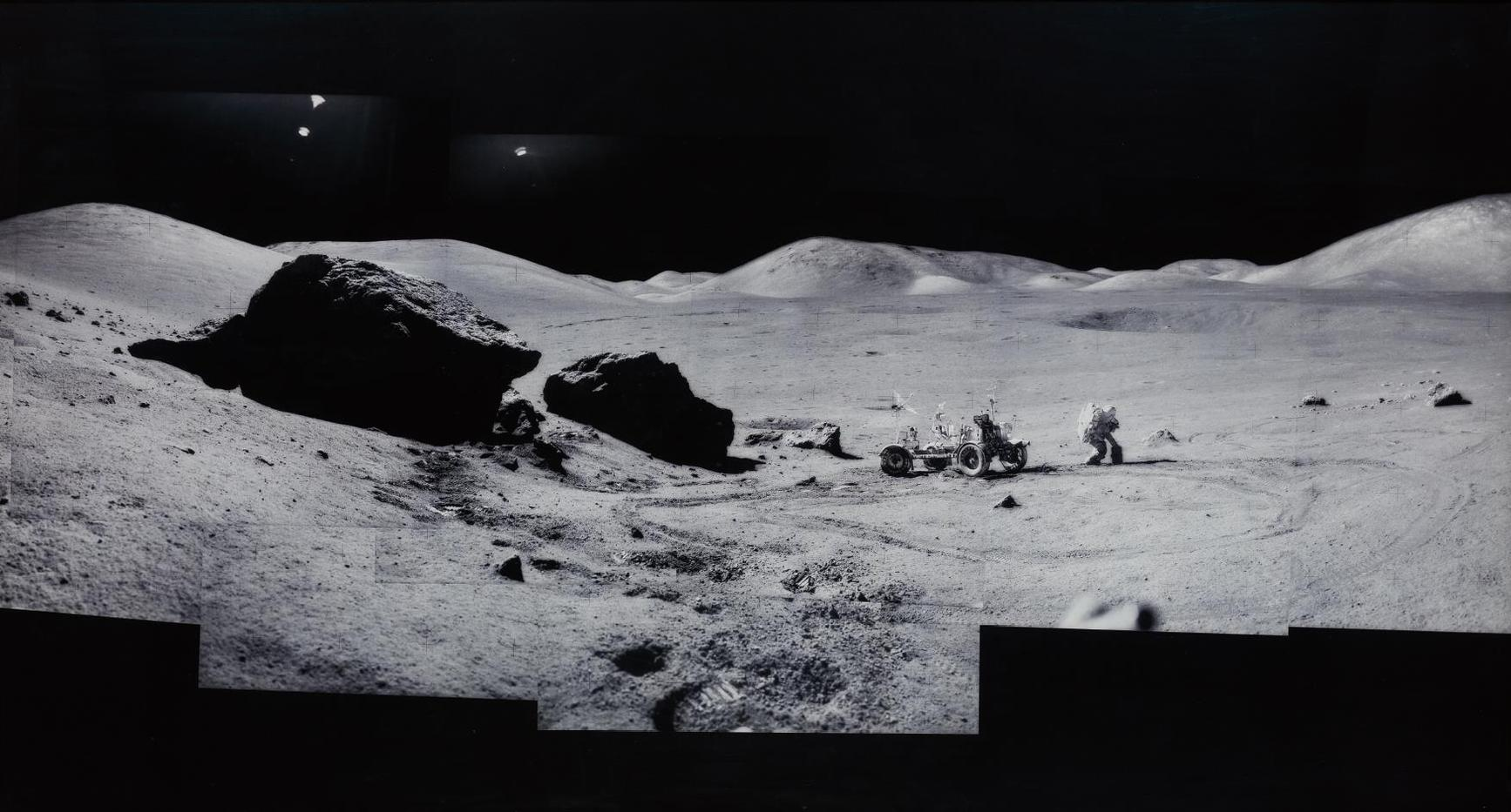Michael Light-Composite Of Eugene Cernan And The Lunar Rover At 'Split Rock', Photographed By Harrison Scmitt, Apollo 17, December 7-19, 1972, From The Project Full Moon-1999