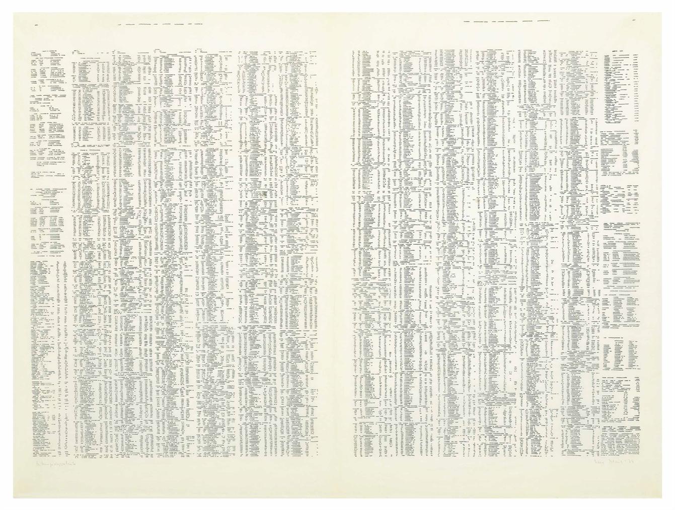 Irma Blank-Trascriziona, Zeitungsdoppelseite-1974