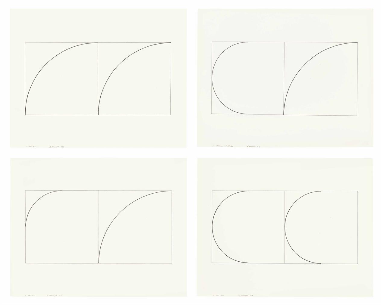 Robert Mangold-2 180degrees Arcs; 1 180degrees Arc 1 90degrees Arc; 2 90degrees Arcs; 2 90degrees Arcs-1974