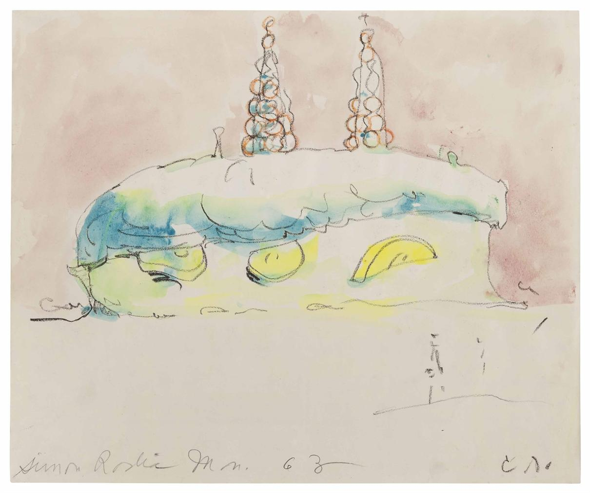 Claes Oldenburg-Sketch For A Memorial To Simon Rodia: Banana Cream Pie Over The Watts Tower-1963