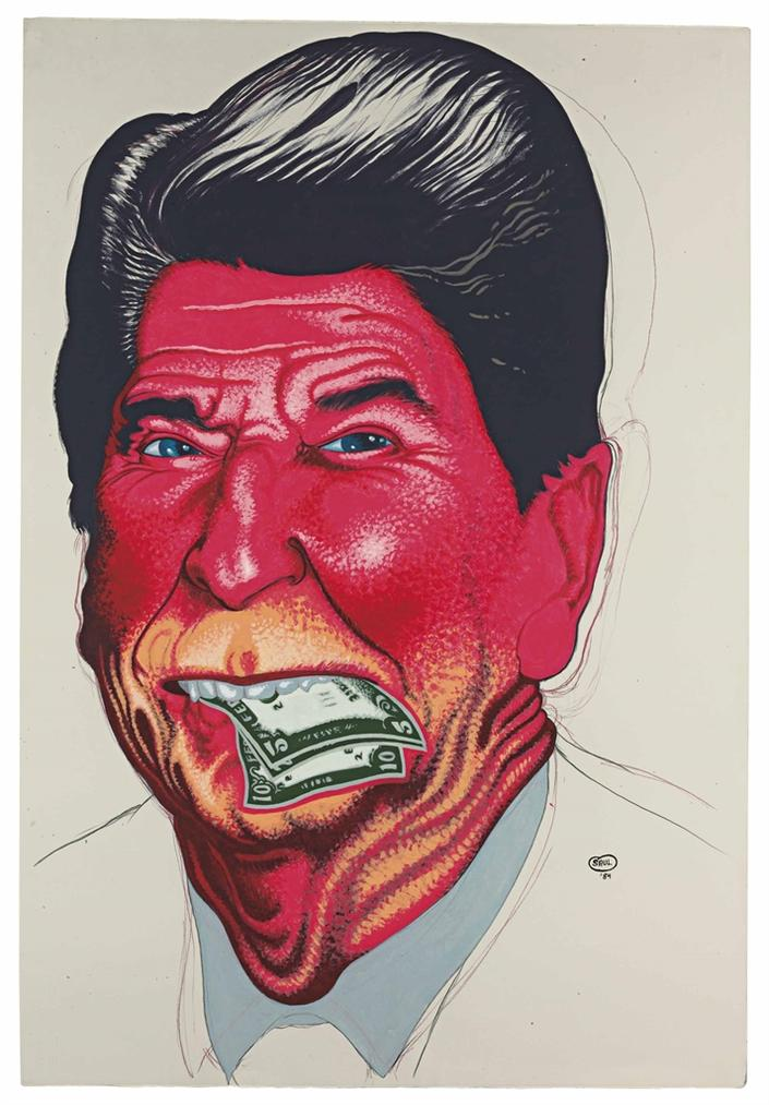 Peter Saul-Ronald Reagan #3 (Lunch)-1984