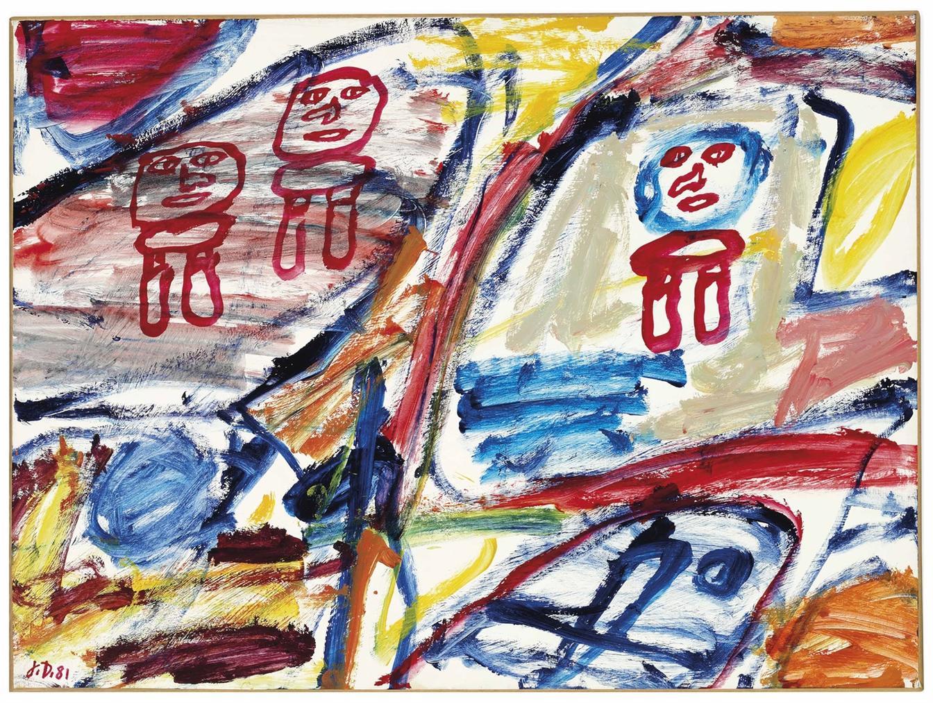 Jean Dubuffet-Site Avec 3 Personnages-1981