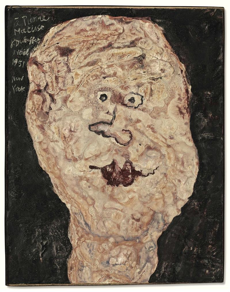Jean Dubuffet-Tete Dedicacee A Pierre Matisse-1951