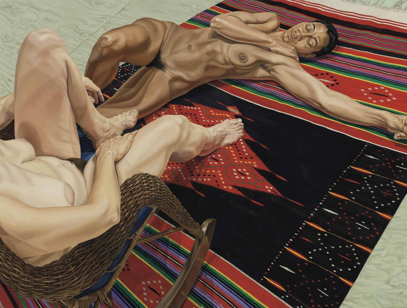 Philip Pearlstein-Two Models With Mexican Rug-1983