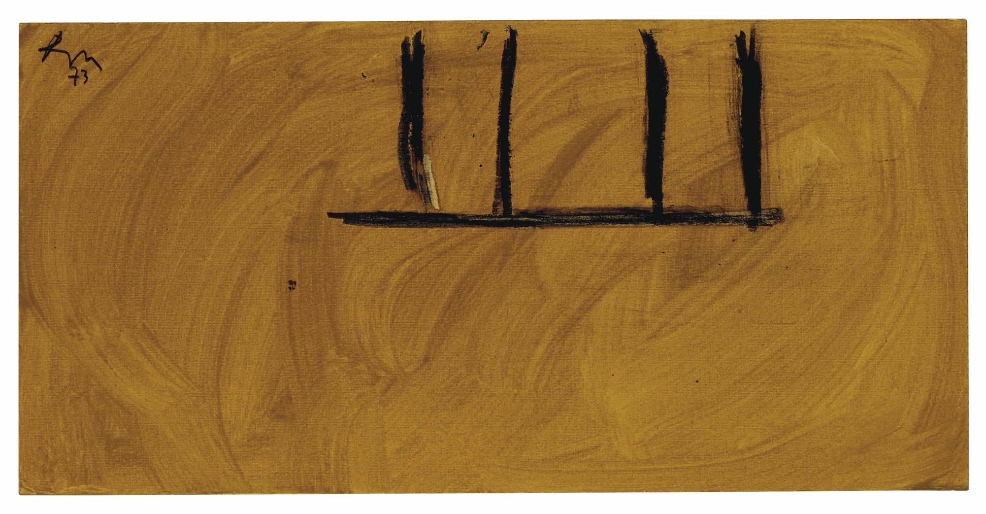 Robert Motherwell-Untitled (Ochre And Black)-1973