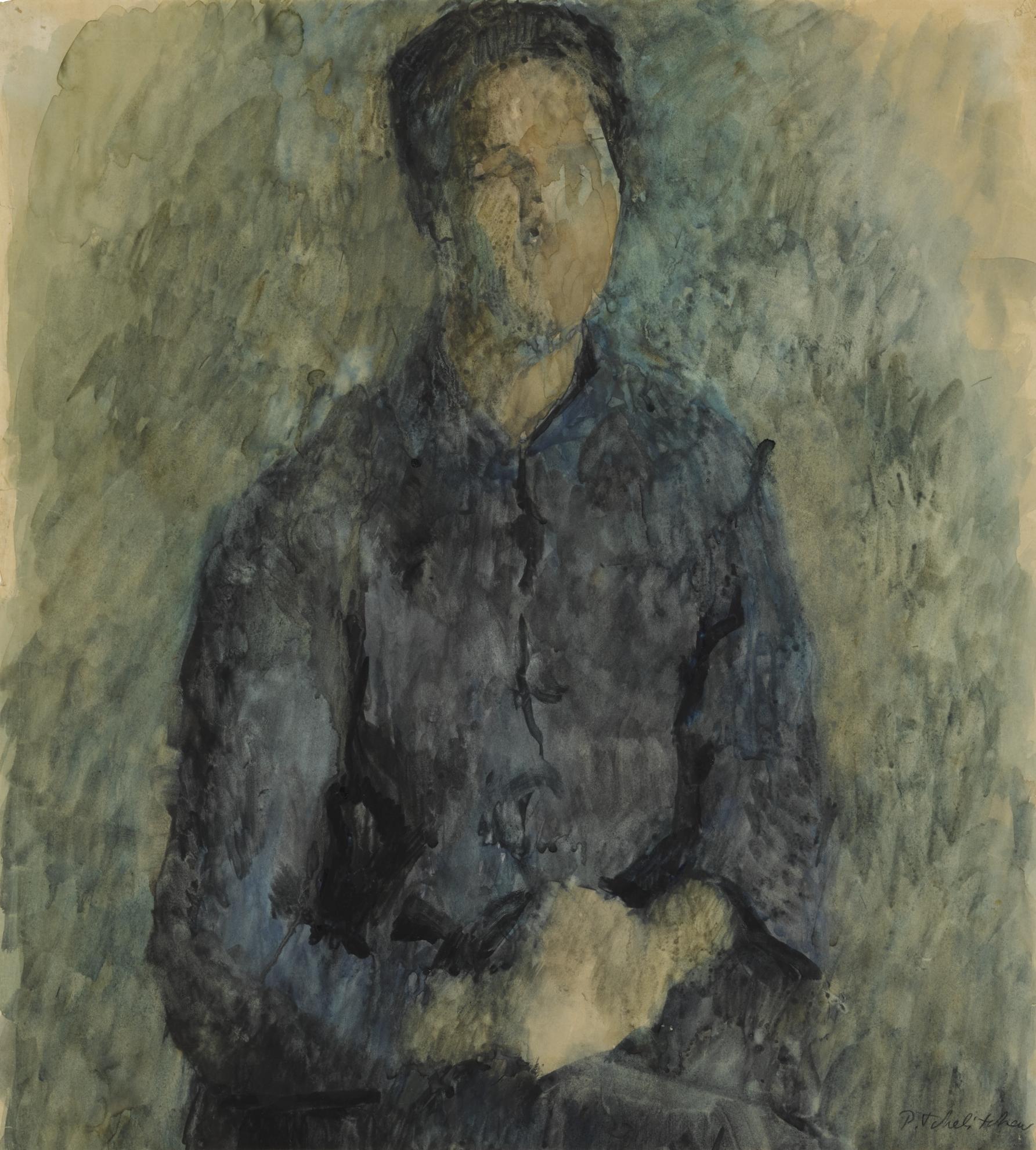 Pavel Tchelitchew-Study Of Allen Tanner In Blue Denim-
