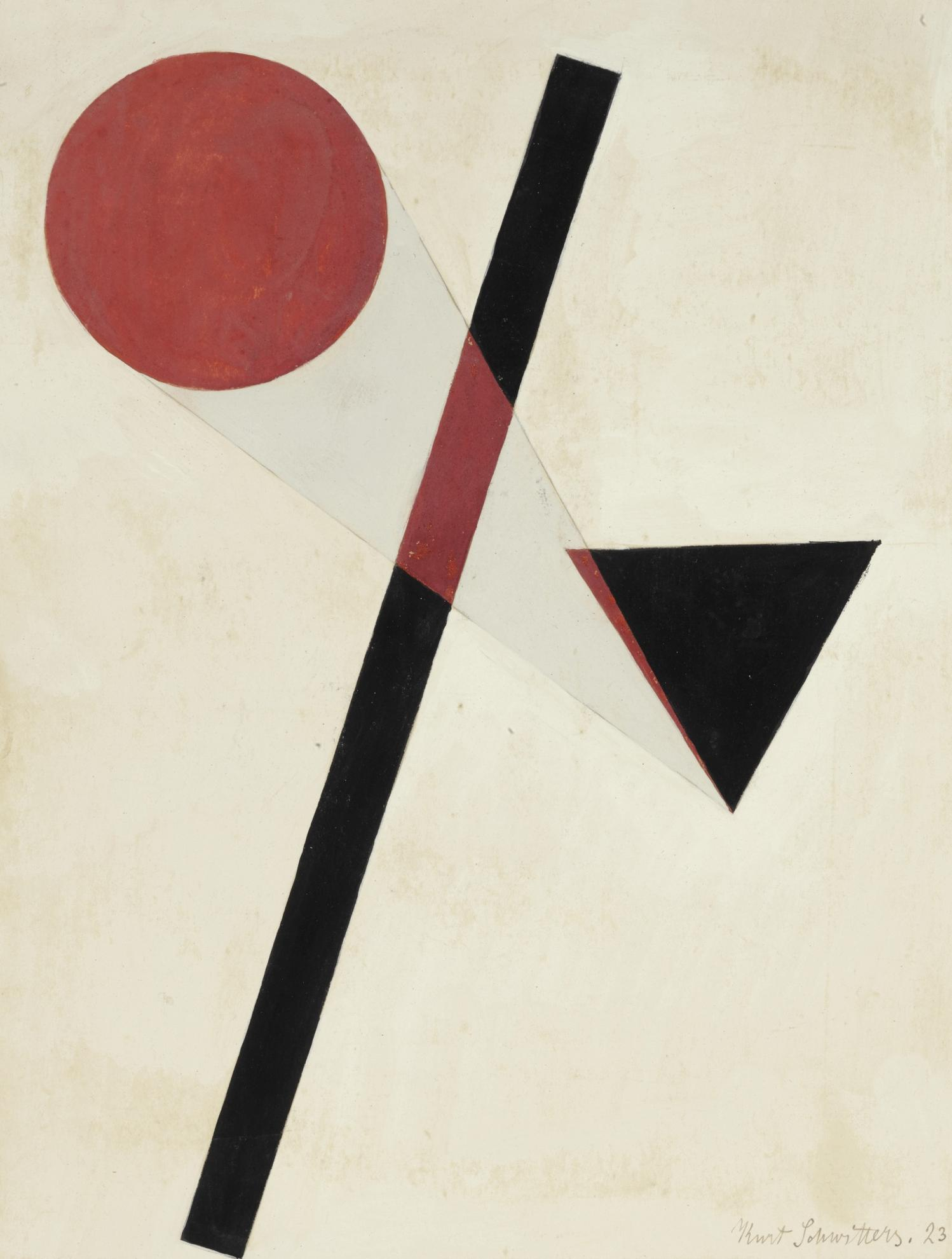 Kurt Schwitters-Ohne Titel (Konstruktion Mit Rotem Kreis Und Schwarzem Dreieck) (Untitled (Construction With Red Circle And Black Triangle))-1923