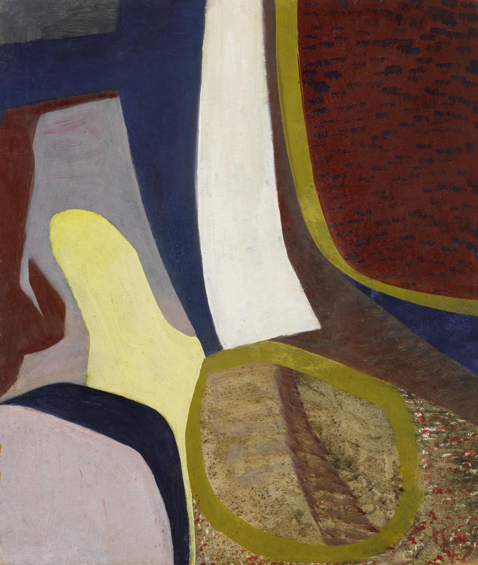 Kurt Schwitters-Ohne Titel (Abstraktes Bild Mit Ockerfarbenem Kreis) (Untitled (Abstract Painting With Ochre Circle))-1947