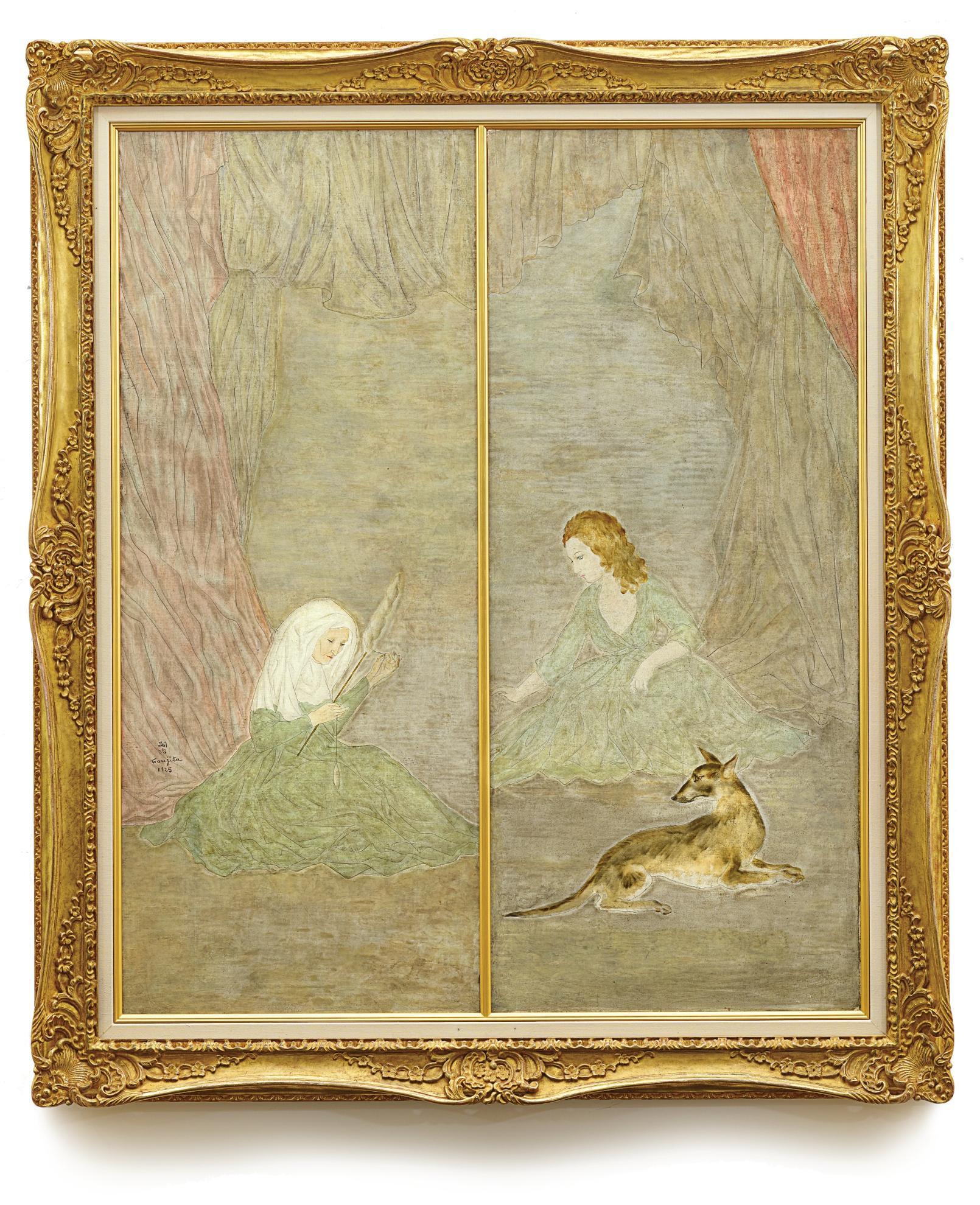 Tsuguharu Foujita-Fileuse Et Jeune Fille Au Chien (Diptych)-1925