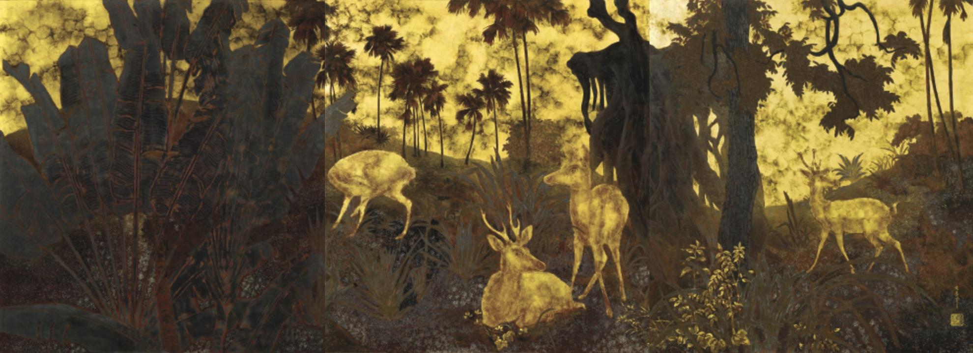 Pham Hau-A Family Of Deer In A Forest-