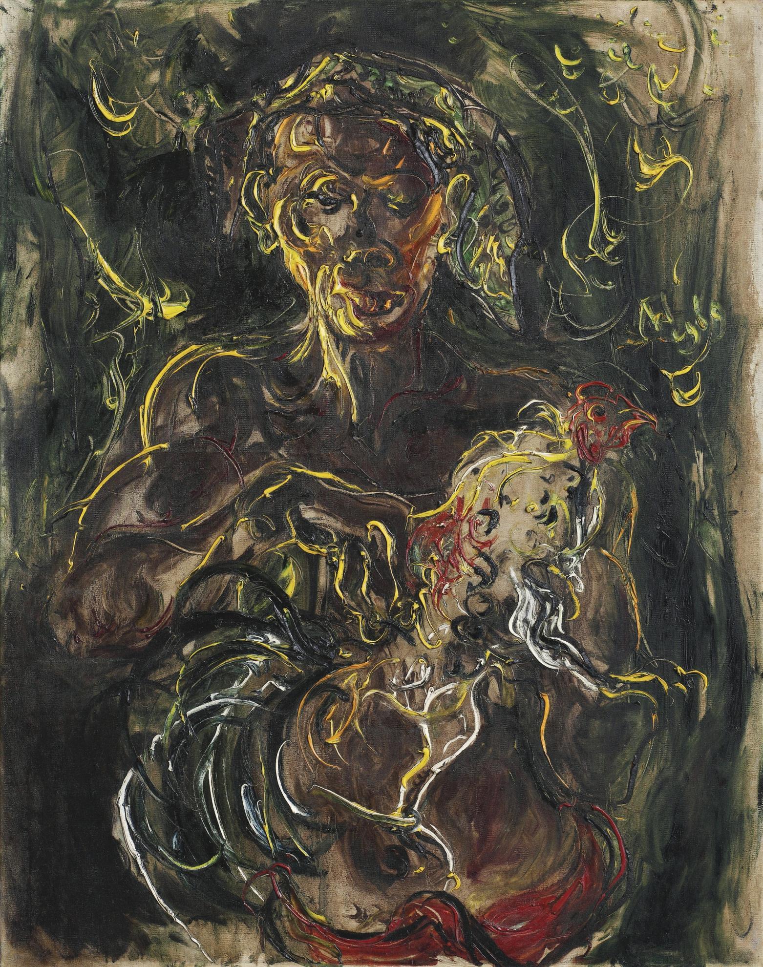 Affandi-Man With Cockerel-1969