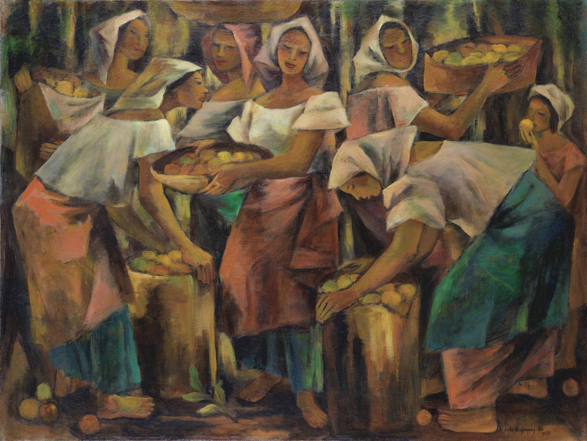 Anita Magsaysay-Ho-Mga Babaeng May Hawak Ng Mga Basket Ng Prutas (Women With Baskets And Fruits)-1958
