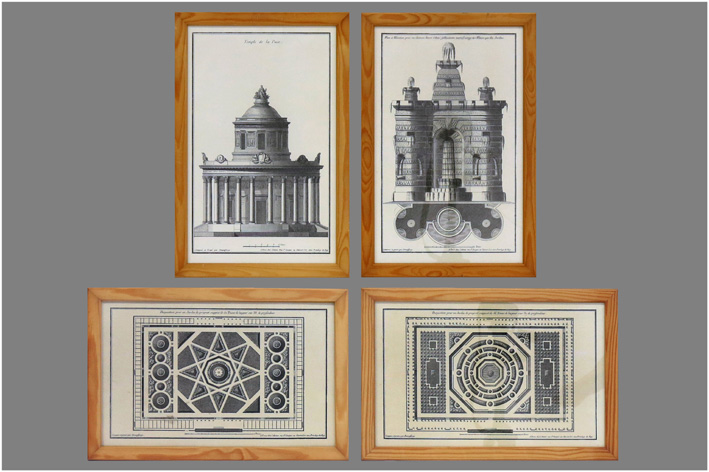 4 prints with architectural drawings-