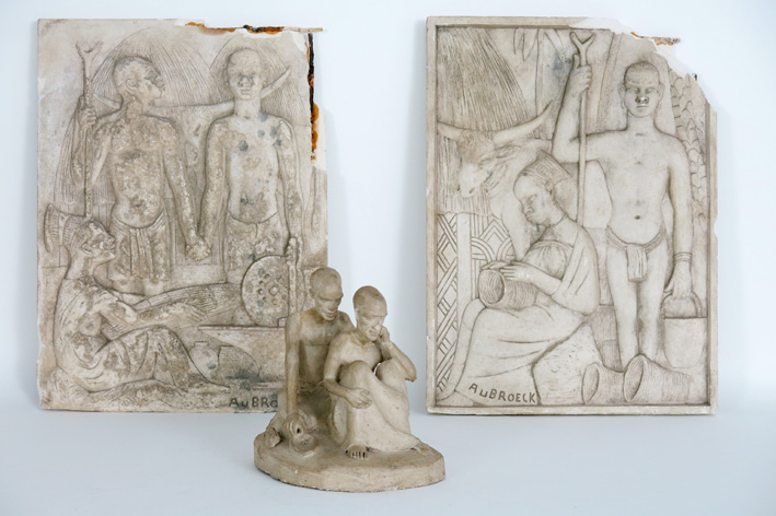 Two signed bas reliefs and a sculpture-