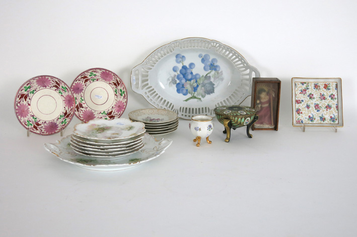 Several items in porcelain, ceramic and an antique doll in wax-