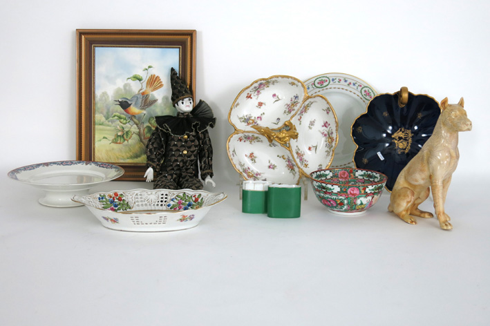 Several items in porcelain or ceramic and a doll-