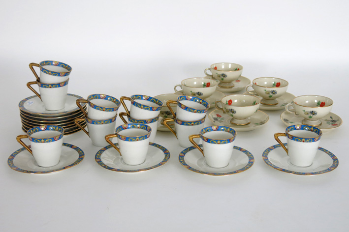 Two sets of moccacups and saucers in marked Limoges-porcelain-