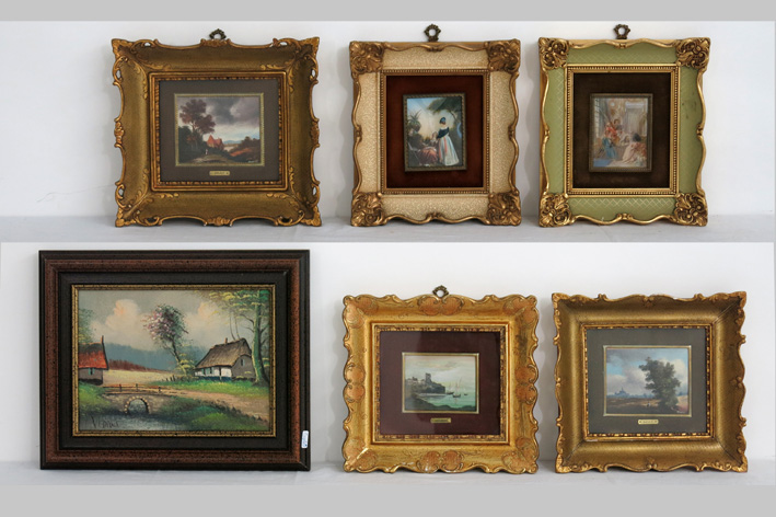 Five miniatures and an oil on canvas, each with a landscape-