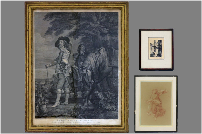 Antique engraving, etching and drawing-