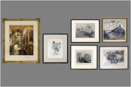 Six prints by four different Belgian artists-