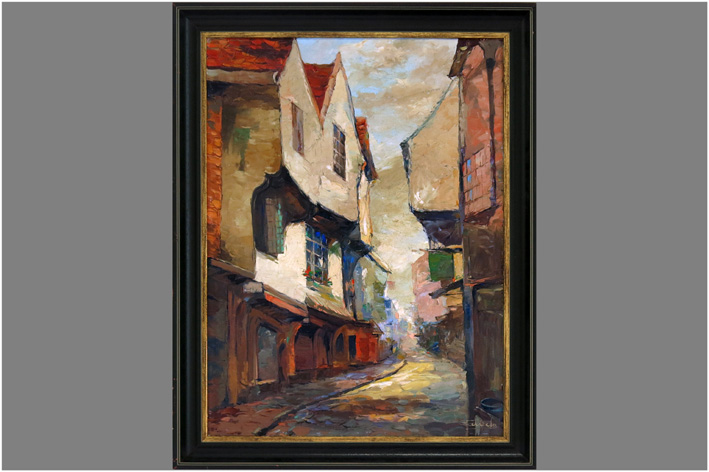 French School - View of a street in Alsace-