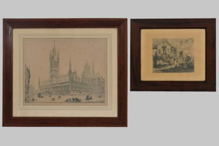 Lithographs, one with a view of old 'Ypres'-