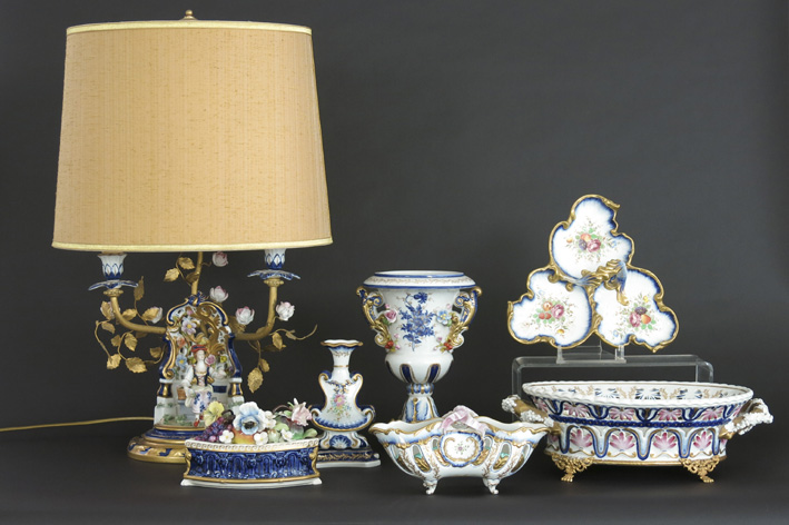 Several items in marked porcelain-