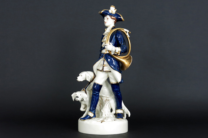 Royal Dux - Hunter with two dogs-