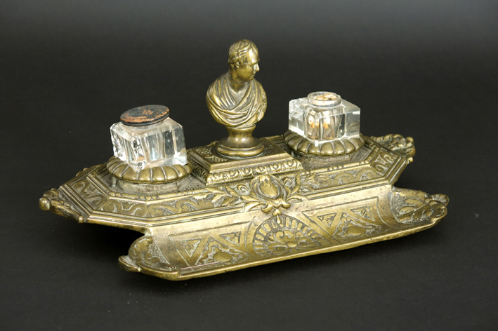 Late 19th Century Bureauset with a small bust in bronze and with two glass inkwells-