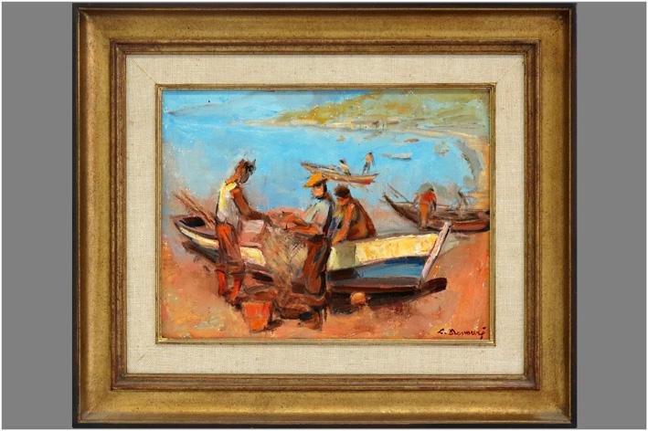 Desmar Lucien - Fishermen in a southern landscape-