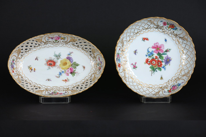 A round and an oval bowl in marked 'Meissen' porcelain-