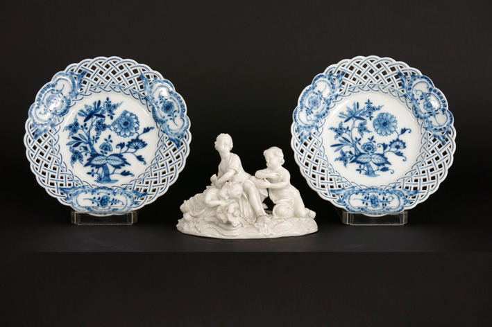 3 pieces of marked 'Meissen' porcelain: a small sculpture and two dishes-