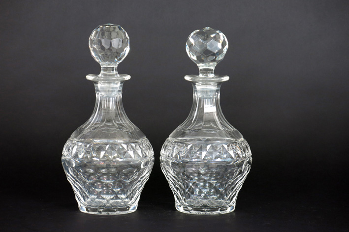 Pair of decanters/claret jugs in crystal-